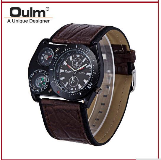Мужские наручные часы OULM с ремешком хаки (термометр и компас бутафория )  -