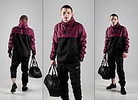 Комплект спортивный Анорак + Штаны + ПОДАРОК + СКИДКА! Черный + бордовый