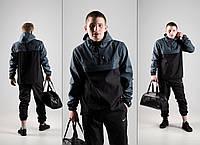 Комплект спортивный Анорак + Штаны + ПОДАРОК + СКИДКА осенний весенний Nike (Найк) Черный + серый, фото 1