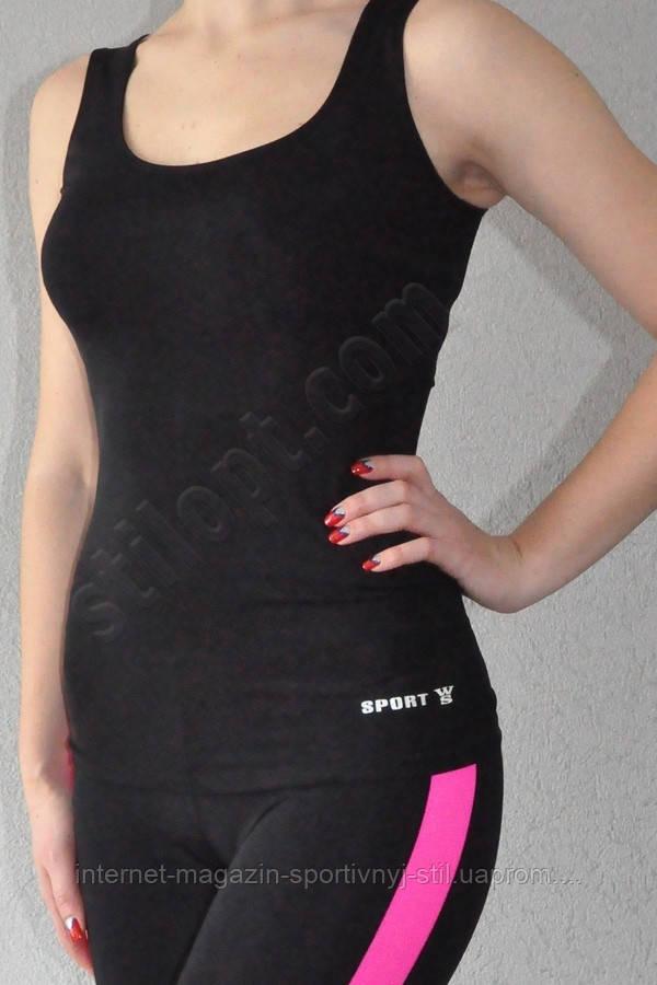 Майка спортивная облегающая бифлекс черная