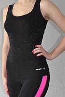 Майка спортивная облегающая бифлекс черная, фото 1