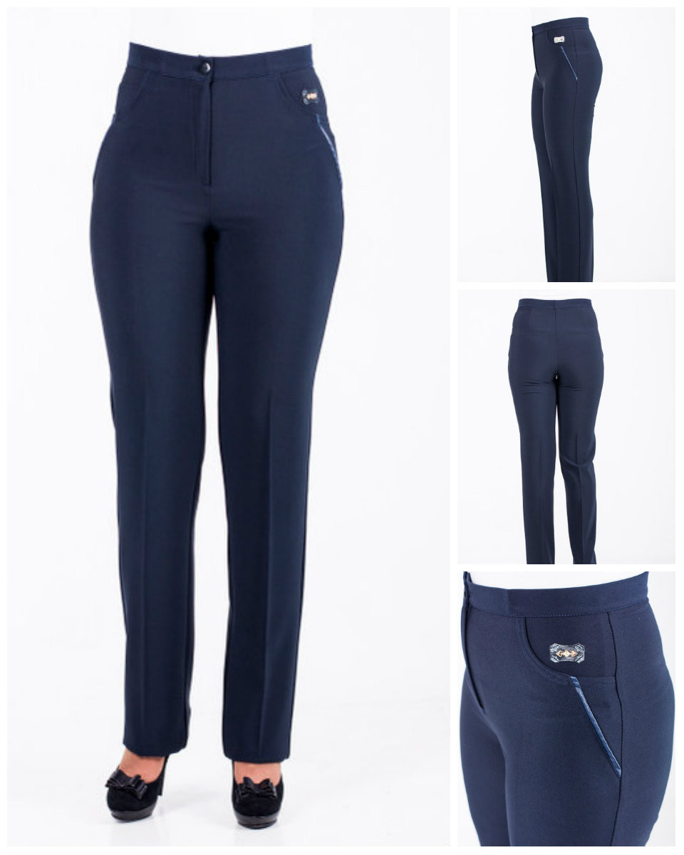 Женские черные брюки средней посадки. Подходят превосходно  всем женщинам . 48,50