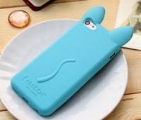 Силиконовый синий чехол кот iphone 4/4S с ушками и лапками, фото 1