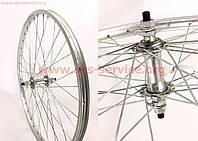 Колесо велосипедное 24 переднее MTB обод алюминиевый, втулка 14Gx36H в сборе  крепление гайка