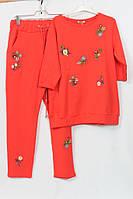Женский костюм Турция, 52-60р, с вышивкой батал, коралл