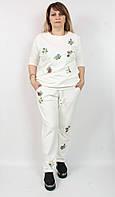 Женский костюм Турция, 52-60р, с вышивкой батал, белый