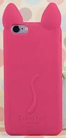 Силиконовый ярко-розовый чехол кот iphone 4/4S с ушками и лапками