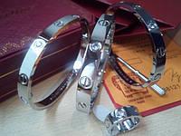 Браслет Картье с цирконием серебро 19cм