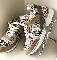 Брендовые кроссовки Chanel розовые