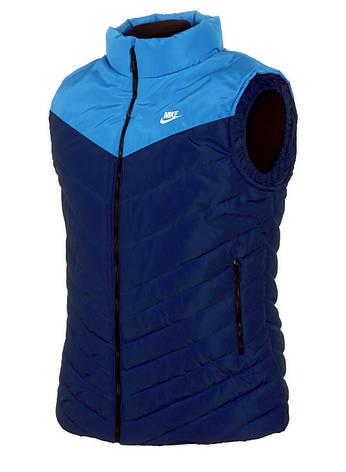 Спортивная стеганная мужская жилетка NIKE с воротником-стойкой L, синий/голубой, фото 2