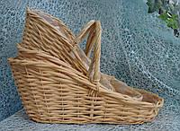 Набор 3 шт. кашпо-корзинок из лозы овальной формы со скошенным верхом с ручкой для цветочных композиций
