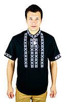 Сорочка вишита хрестиком та оздоблена мережкою, чорний колір, біла вишивка, короткий рукав