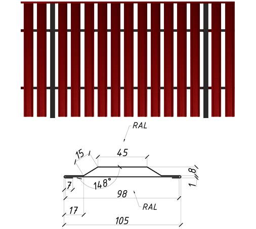 Штакетник металлический, евроштакетник, двухсторонний, 0.45 мм, полиэстер матовый, Украина, Китай, Польша