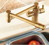 Смеситель кухонный двухрычажный для кухни мойки, фото 2