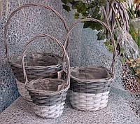 Набор 3 шт. кашпо-корзинок из лозы круглой формы  с высокой ручкой для цветочных композиций