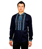Темно-синя сорочка, вишита синьо-білим хрестиком