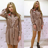 Платье модное с вышивкой ткань лен 2 цвета SMm1262