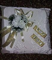 Свадебная подушка под кольца № 2-М (кремовая)