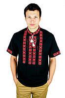 Сорочка вишита хрестиком та оздоблена мережкою, чорний колір, червоно-чорна вишивка, короткий рукав