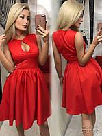 Платье нарядное короткое, ткань мемори, в комплекте подьюбник, цвет красный и черный мпро№ 6004