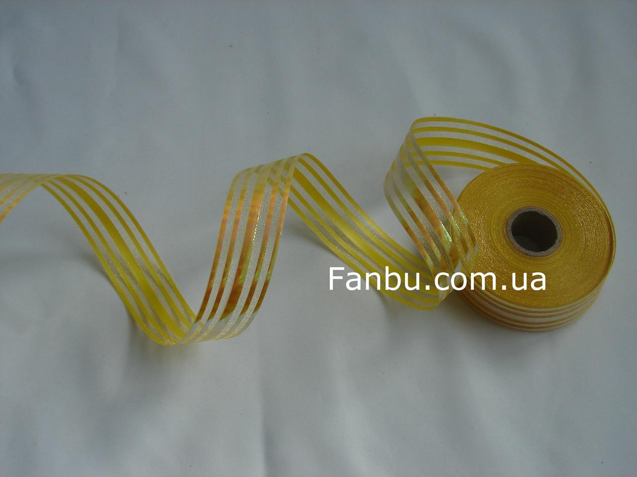 Желтая лента для бантов с красивым переливом (ширина 3 см), фото 1