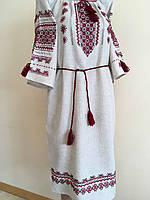 Вишита сукня жіноча сірий льон розмір 48 (XL)