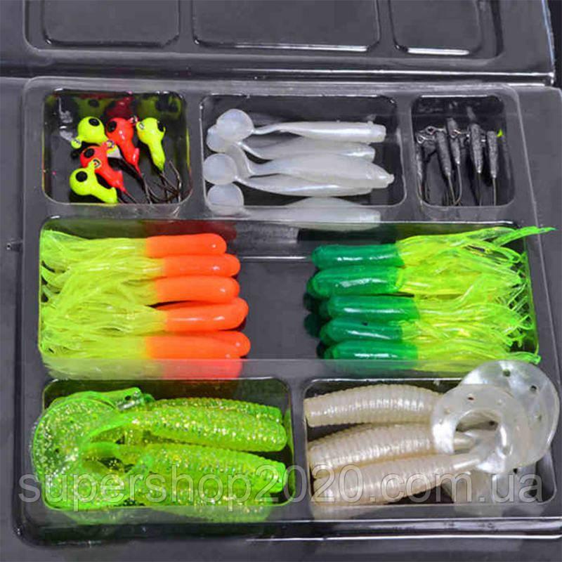 Рибальський набір: силіконові приманки 35 шт.+10 шт крючков