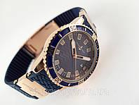 Женские часы - Ulysse Nardin -  на синем каучуковом ремешке с вращающимся безелем, цвет золото, фото 1