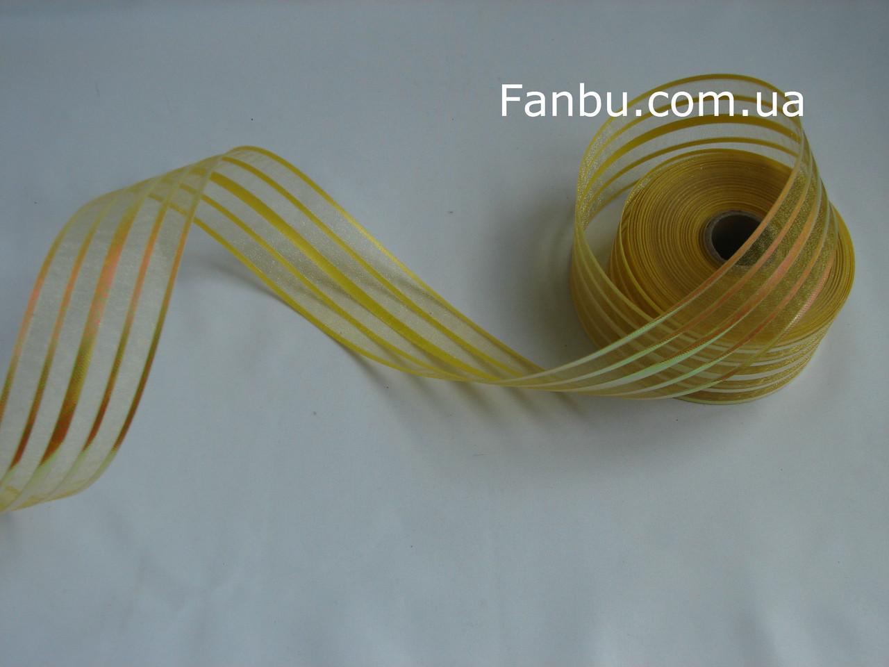 Желтая лента для бантов с красивым переливом (ширина 5 см), фото 1