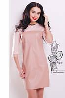 Женское платье из эко-кожи Эдита комбинированное с трикотажем Джерси