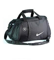 Спортивная сумка Nike черная с среблистым логотипом (реплика)