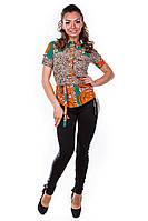 Блуза «Пэнни короткий рукав» Леопард, Зеленый с оранжевым S