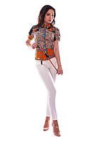 Блуза «Пэнни короткий рукав DG» Леопард темно-синий  оранжевый S
