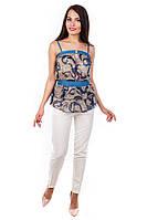 Блуза-топ «Сальма» Темно - синий рябь, вензеля S, L, M