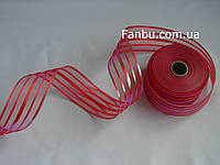 Красная лента для бантов с красивым переливом (ширина 5 см), фото 1