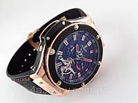 Механические часы HUBLOT - F1  с автозаводом, каучуковый черный ремешок, цвет золото