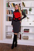 """Платье """"Катерина"""" Серый/красный ONE-SIZE"""