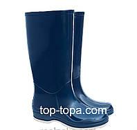 Высокие резиновые сапоги темно-синего цвета женские