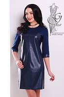 Женское платье из эко-кожи Эдита-1 комбинированное с трикотажем Джерси