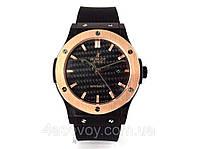 Механические часы HUBLOT - Automatic  с автозаводом, каучуковый черный ремешок, цвет золото, сапфировое, AAA