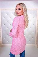 Женский кардиган, теплая вязка, 70% акрил; 30% шерсть, р-р универсальный 42-46 (розовый)