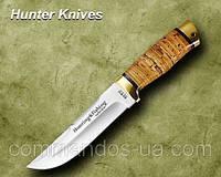 Нож охотничий. Рукоять - береста, алюминий.