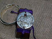 Стильный кожаный браслет ЧАСОВОЙ МЕХАНИЗМ, ручная работа