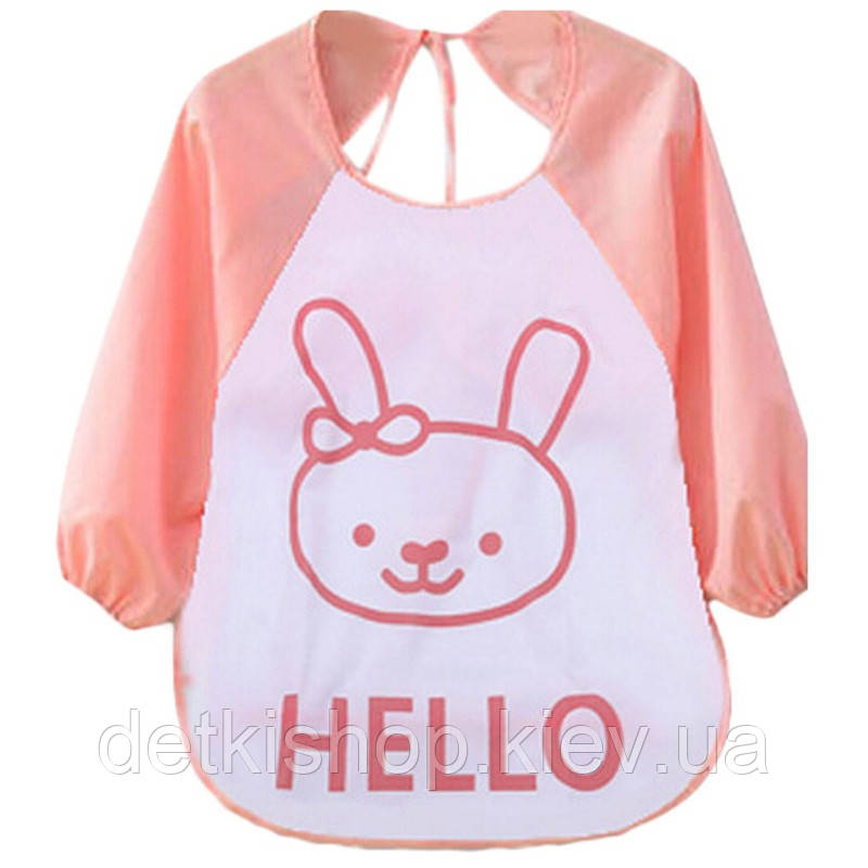 Слюнявчик с рукавами Hello (розовый зайчик)