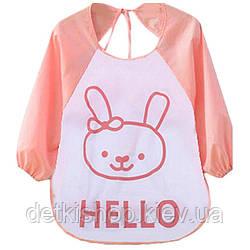 Слинявчик з рукавами Hello (рожевий зайчик)