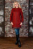 """Пальто """"Амберг 80 крупное букле""""  Красный/черный/бордо S, L, M"""