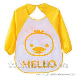 Слинявчик з рукавами Hello (жовтий курча)