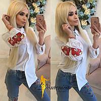 Женская рубашка с принтом на рукаве в расцветках o-t3113317