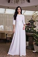 Нарядное белое платье с круживом в пол