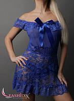 Кружевной пеньюар с трусиками синий